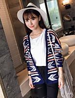Women's Jacquard Blue Cardigan , Casual Long Sleeve