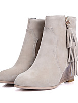Women's Shoes Leather Wedge Heel Fashion Boots / Round Toe Boots Dress / Casual Black / Beige