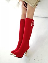 Women's Shoes Leatherette Chunky Heel Heels / Round Toe Boots Outdoor / Office & Career / Casual Black / Red