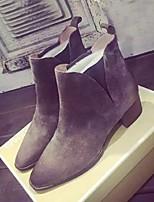 Zapatos de mujer - Tacón Bajo - Punta Cerrada / Botas a la Moda - Botas - Casual - Ante - Negro / Caqui