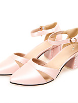 Women's Shoes Synthetic Chunky Heel Heels Heels Outdoor / Dress / Casual Black / Blue / Pink / White
