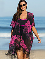 Women's Halter Cover-Ups , Tassels / Floral / Solid / Bandage / Geometric Wireless Polyester Multi-color