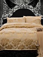 jacquard de algodão no conjunto de cama amarela de 4pcs