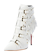 Women's Shoes Leather Stiletto Heel Fashion Boots / Bootie Boots Wedding / Party & Evening / Dress White