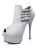 Women's Shoes Suede Stiletto Heel Heels / Peep Toe / Platform Heels Dress Black / Green / Red / Gray