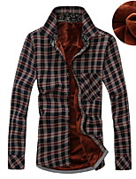 Men's Fashion Casual Long Sleeved Plus Thick Velvet Plaid Shirt