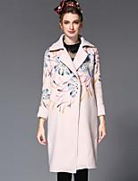Winter Women's Clothing Europe Fashion Print Loose Woolen Plus Size Long Coat