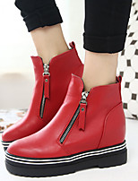 Women's Shoes Flange British Style Platform Bootie / Comfort Boots Casual Black / Red