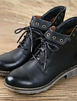 Women's Shoes Leather Chunky Heel Round Toe Boots Casual Black / Yellow / Khaki