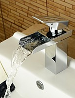 Modern Style Chrome Single Handle Single Hole Hot and Cold Water Bathroom Sink Faucet