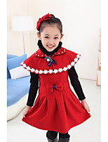 Girl's Orange / Pink / Red Dress , Bow Cotton / Mesh / Polyester Winter