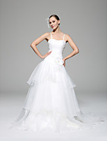 A-line Wedding Dress - White Chapel Train Spaghetti Straps Organza / Satin
