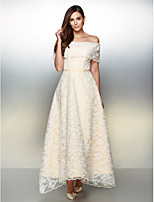 TS Couture Formal Evening Dress - Ivory A-line Off-the-shoulder Ankle-length Lace