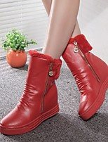 Women's Shoes Winter Warm Wedge Heel Round Toe Fashion Boots Casual Black / Red / White