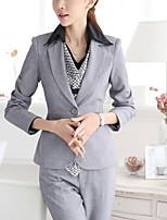 Women's Solid Black / Gray Blazer , Work / Plus Sizes Notch Lapel Long Sleeve