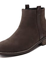 Women's Shoes Fleece Low Heel  Round Toe Boots Dress / Casual Black / Taupe