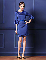 Sheath/Column Mother of the Bride Dress - Royal Blue Short/Mini Half Sleeve Polyester