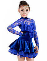 Latin Dance Outfits Children's Performance Spandex / Polyester Draped 2 Pieces Royal Blue