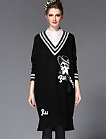 Women's Fashion Winter Embroidery V Neck Stripe Loose Elegant/Casual/Party/Work Long Sweater Dress