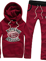 Men's Slim Letters Printed Hooded Couple Sets , Cotton / Polyester Print