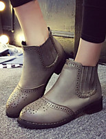 Women's Shoes Vintage Low Heel Round Toe Combat Boots Casual Black / Gray