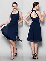 Knee-length Chiffon Bridesmaid Dress - Dark Navy A-line Halter