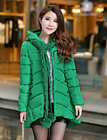 Women's Solid Pink / Red / Black / Green / Beige Parka Coat , Casual Hooded Long Sleeve