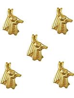 10pcs Egypt God Anubis 3D Gold Nail Art Alloy 7mm x 9mm