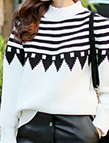Women's Striped / Color Block White Pullover , Casual Long Sleeve