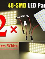 2 PCS Warm White HID T10 48-LED Ba9s Panel LED Dome Map Interior Light Bulb Lamp
