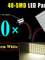 10X RV Trailer 48-SMD Warm White High Power LED Light Panel +1156 BA15S Adapter