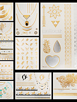 10pcs Pattern Flowers Beach Temporary Gold Silver Flash Metallic Tattoos Sticker Bracelet Necklace Waterproof