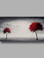 Hand-Painted Oil Painting on Canvas Wall Art Abstract Contempory Trees Clouds Grey One Panel Ready to Hang