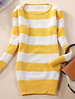 Women's Striped Blue / Pink / Red / Black / Green / Yellow / Khaki / Beige / Gray Pullover , Casual Long Sleeve
