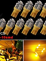 10X Amber Yellow T10 Wedge 10SMD LED Turn Light W5W 2825 158 192 168 194 906 912