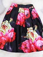 Fashion Women's Retro Waist Flowers Wild Slim Elastic Waist Knee-length Skirts