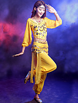 Belly Dance Outfits Women's Performance Satin / Sequined Gold Coins / Silver Coins 3 Pieces 6 Colors
