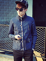 Men's Striped Long Sleeve Jacket , Denim / Others Casual / Plus Sizes