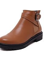 Zapatos de mujer - Tacón Robusto - Botas Anfibias / Punta Redonda - Botas - Exterior / Casual - Semicuero - Negro / Marrón