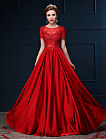 Dress - Ruby A-line Jewel Floor-length Lace / Charmeuse