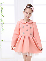 Girl's Pink Dress , Ruffle Cotton Winter / Fall