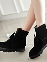 Women's Shoes Cotton Flat Heel Riding Boots / Bootie / Round Toe Boots Dress / Casual Black / Yellow / Red / Beige