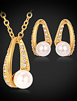 Instyle 18K Real Gold Platinum Plated Rhinestone Crystal Pendant Earrings Set Vintage High Quality