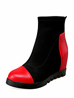 Women's Shoes Fabric Wedge Heel Wedges / Fashion Boots / Round Toe Boots Dress / Casual Black / Red