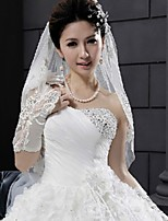 Bridal Wedding Veil WHITE/IVORY Two-tier Elbow Veils Lace Applique Edge