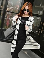Women's Striped Red / White / Black Cardigan , Vintage / Casual Long Sleeve