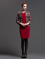 Sheath/Column Mother of the Bride Dress - Print Knee-length Long Sleeve Polyester