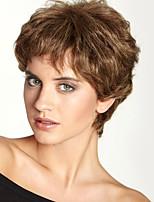 moda esponjosa superior corto ondulado monofilamento cabello humano (1