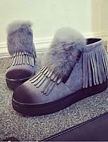 Chaussures Femme - Extérieure / Décontracté - Noir / Gris / Beige - Talon Plat - Rangers / Bout Arrondi - Bottes - Daim