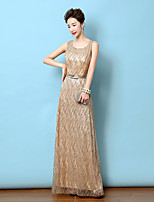Formal Evening Dress - Gold Sheath/Column Scoop Floor-length Satin